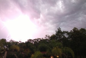 Black skies and flashes of light